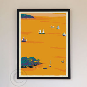 "Sunset Schooners in Camden Harbor Art Print 18"" x 24"" Framed Wall Poster By Alan Claude"