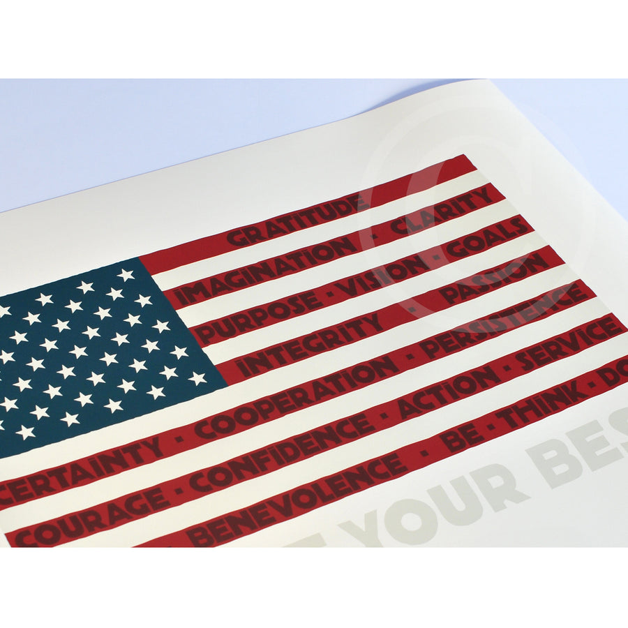 "GIVE IT YOUR BEST! USA Flag Art Print 18"" x 24"" Wall Poster"