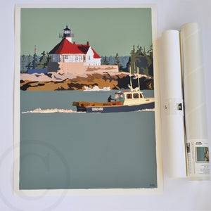 "Lobstering at the Cuckolds Light Art Print 18"" x 24"" Wall Poster - Maine"