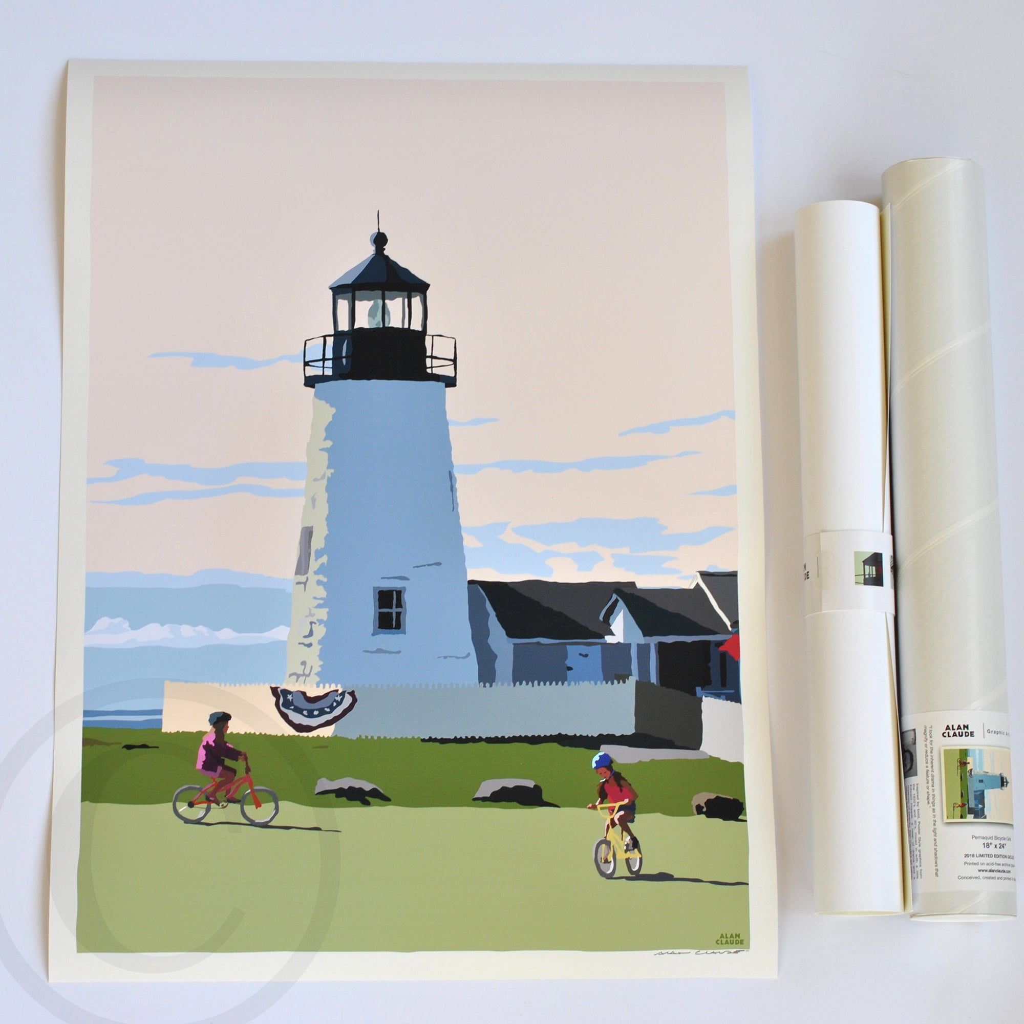 "Pemaquid Bicycle Girls Art Print 18"" x 24"" Poster - Maine"