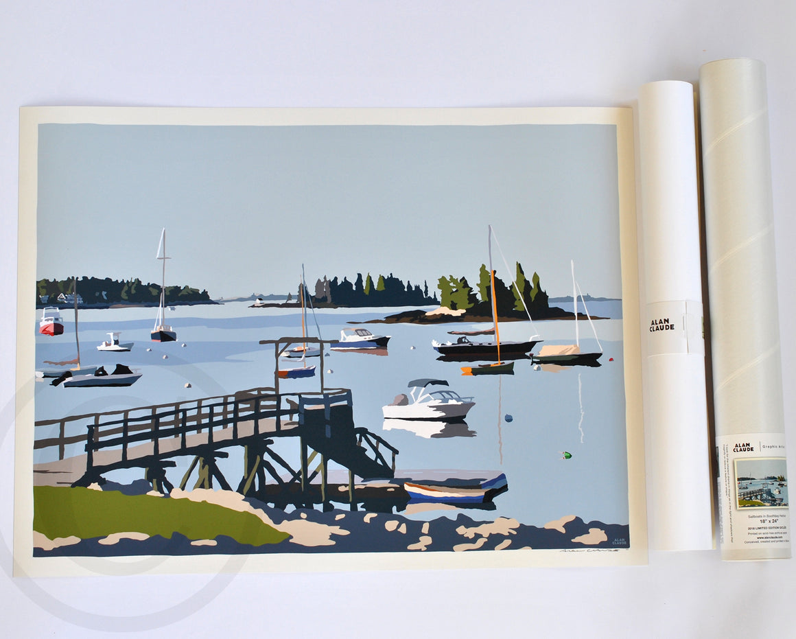 "Sailboats in Boothbay Harbor Art Print 18"" x 24"" Wall Poster - Maine"