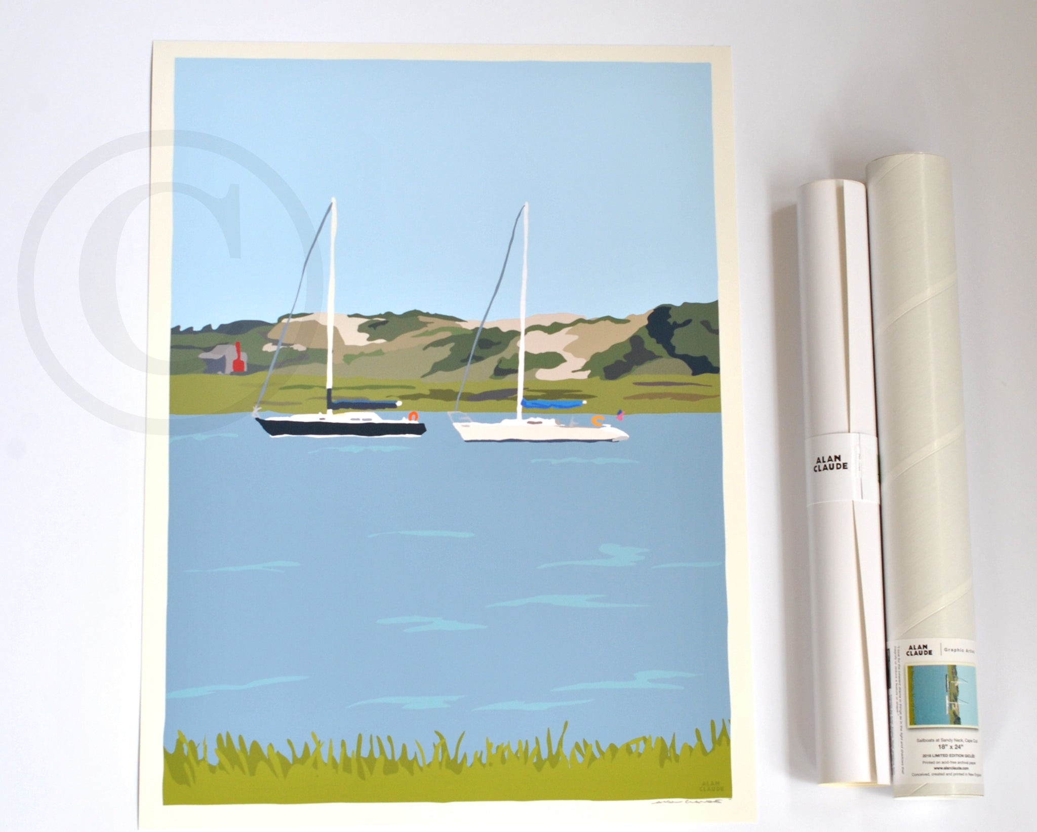 "Sailboats at Sandy Neck Art Print 18"" x 24"" Wall Poster - Cape Cod"