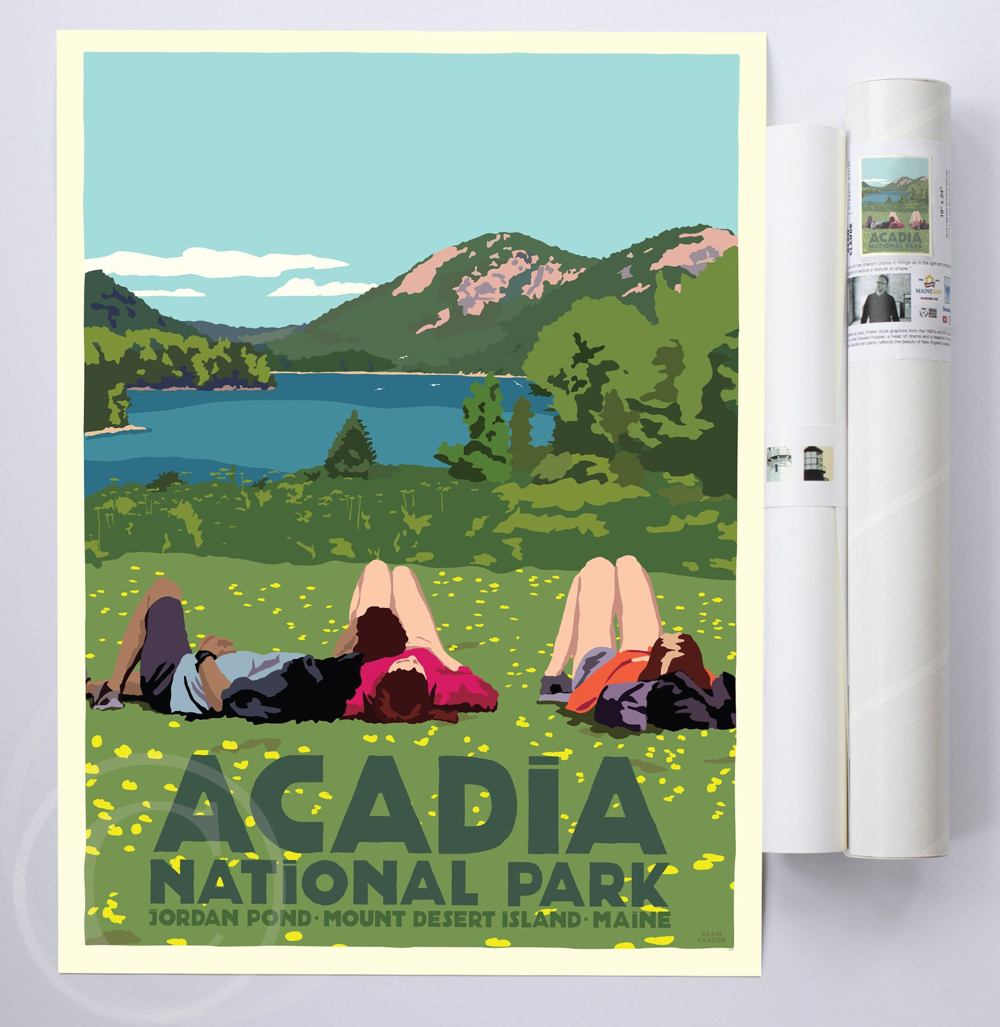 "Hikers In Acadia National Park Art Print 18"" x 24"" Wall Poster By Alan Claude"