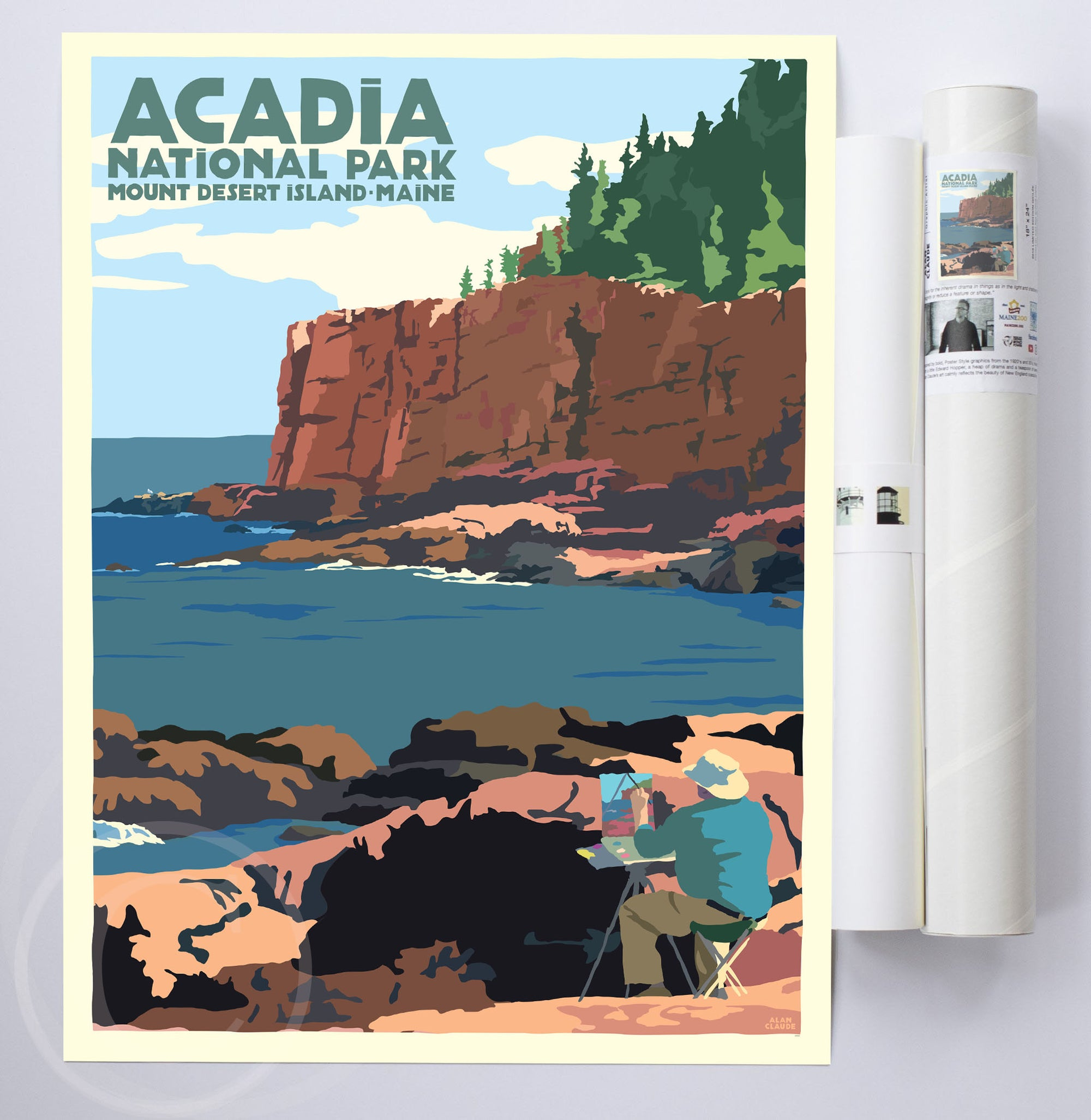"Painting In Acadia Art Print National Park 18"" x 24"" Wall Poster By Alan Claude"