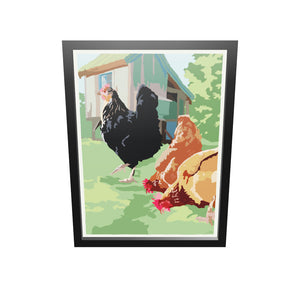 "Spring Chickens Art Print 18"" x 24"" Framed Wall Poster By Alan Claude"