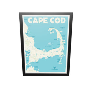 "Cape Cod Map Art Print 18"" x 24"" Framed Travel Poster - Massachusetts"
