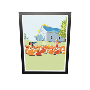 "Fall Pumpkin Kids Art Print 18"" x 24"" Framed Wall Poster - Maine"