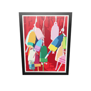 "Lobster Buoys Art Print 18"" x 24"" Framed Wall Poster"