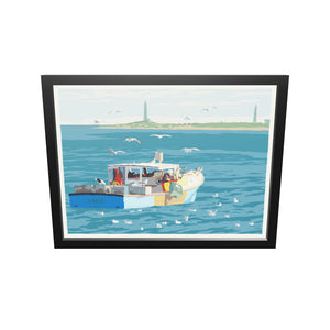 "Lobstering at Cape Ann Art Print 18"" x 24"" Framed Wall Poster - Massachusetts"