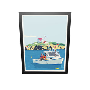 "Lobstering at the Nubble Art Print 18"" x 24"" Framed Wall Poster - Maine"