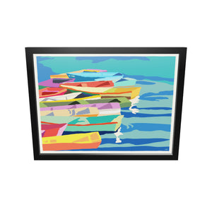 "Perkins Cove Dinghies Art Print (Horizontal) 18"" x 24"" Framed Wall Poster - Maine"