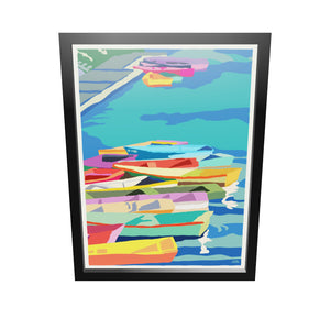 "Perkins Cove Dinghies Art Print 18"" x 24"" Framed Wall Poster - Maine"