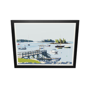 "Sailboats in Boothbay Harbor Art Framed Print 18"" x 24"" Wall Poster - Maine"