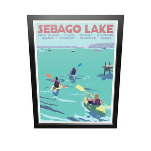 "Sebago Lake kayakers Art Print 18"" x 24"" Framed Travel Poster - Maine by Alan Claude"
