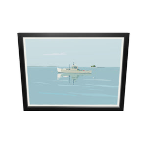 "Tranquility Lobster Boat Art Print 18"" x 24"" Framed Wall Poster - Maine"