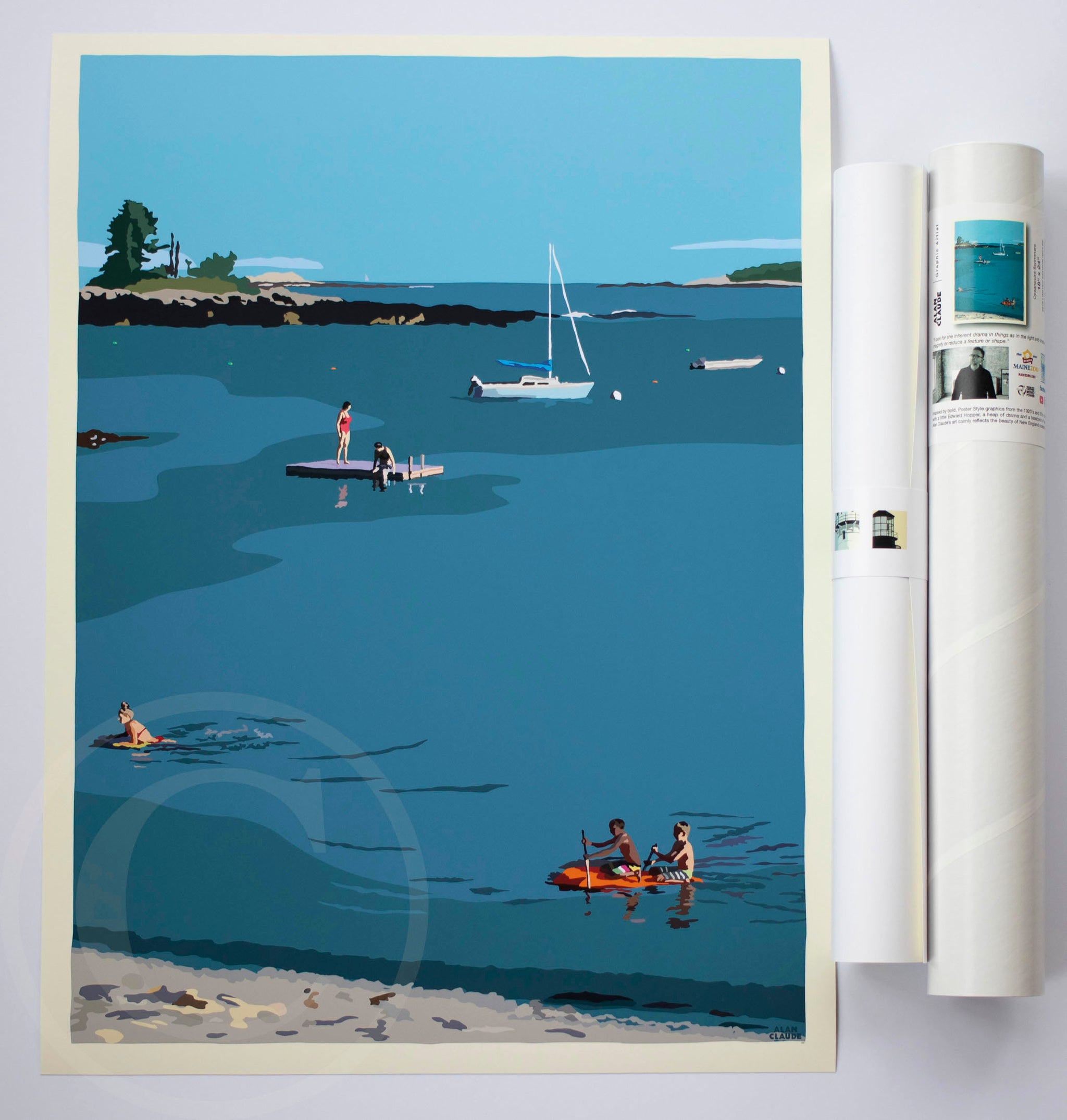 "Ocean Point Swimmers Art Print 18"" x 24"" Wall Poster by Alan Claude"