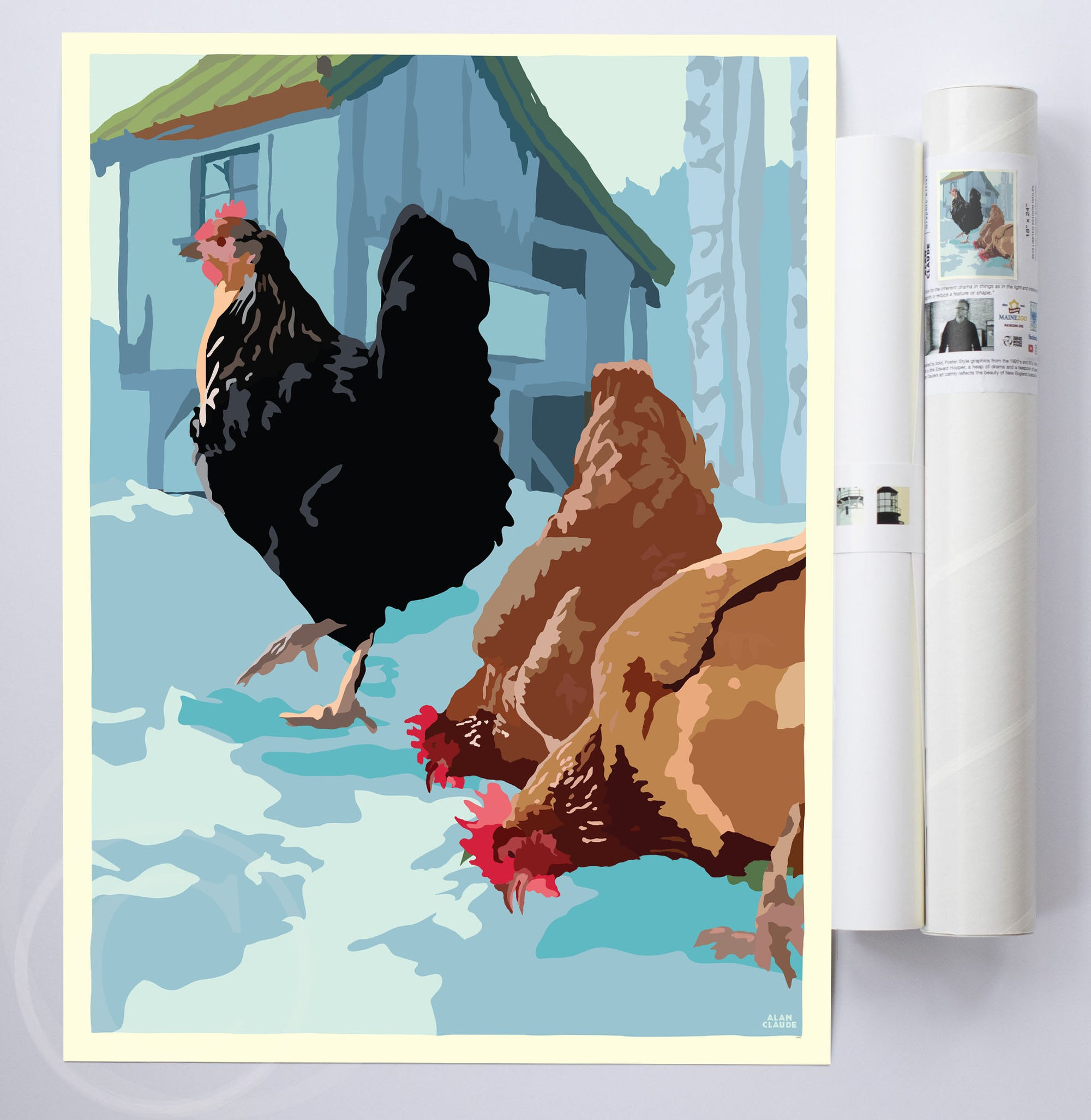 "Winter Chickens Art Print 18"" x 24"" Wall Poster By Alan Claude"