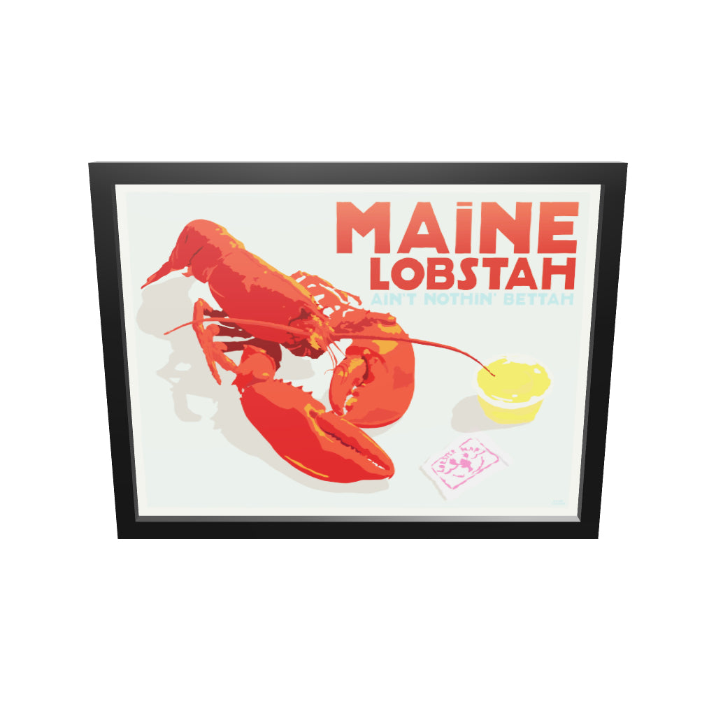 "Maine Lobstah With Butter Art Print (Horizontal) 18"" x 24"" Framed Wall Poster By Alan Claude"