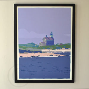"Block Island North Light Art Print 18"" x 24"" Framed Wall Poster - Rhode Island"