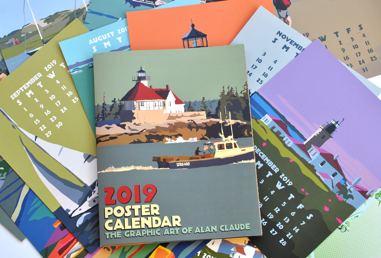 Sold Out!! 2019 POSTER Art Calendar 11x14 retro vintage art poster style by Alan Claude