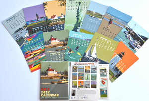 2019 Art Calendar Desk 5x7 Poster style graphics by Alan Claude Vintage Retro art Coastal