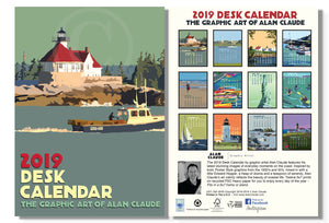 2019 Art Calendar Desk 5x7 Poster style graphics by Alan Claude Vintage Retro art Coastal-SOLD OUT