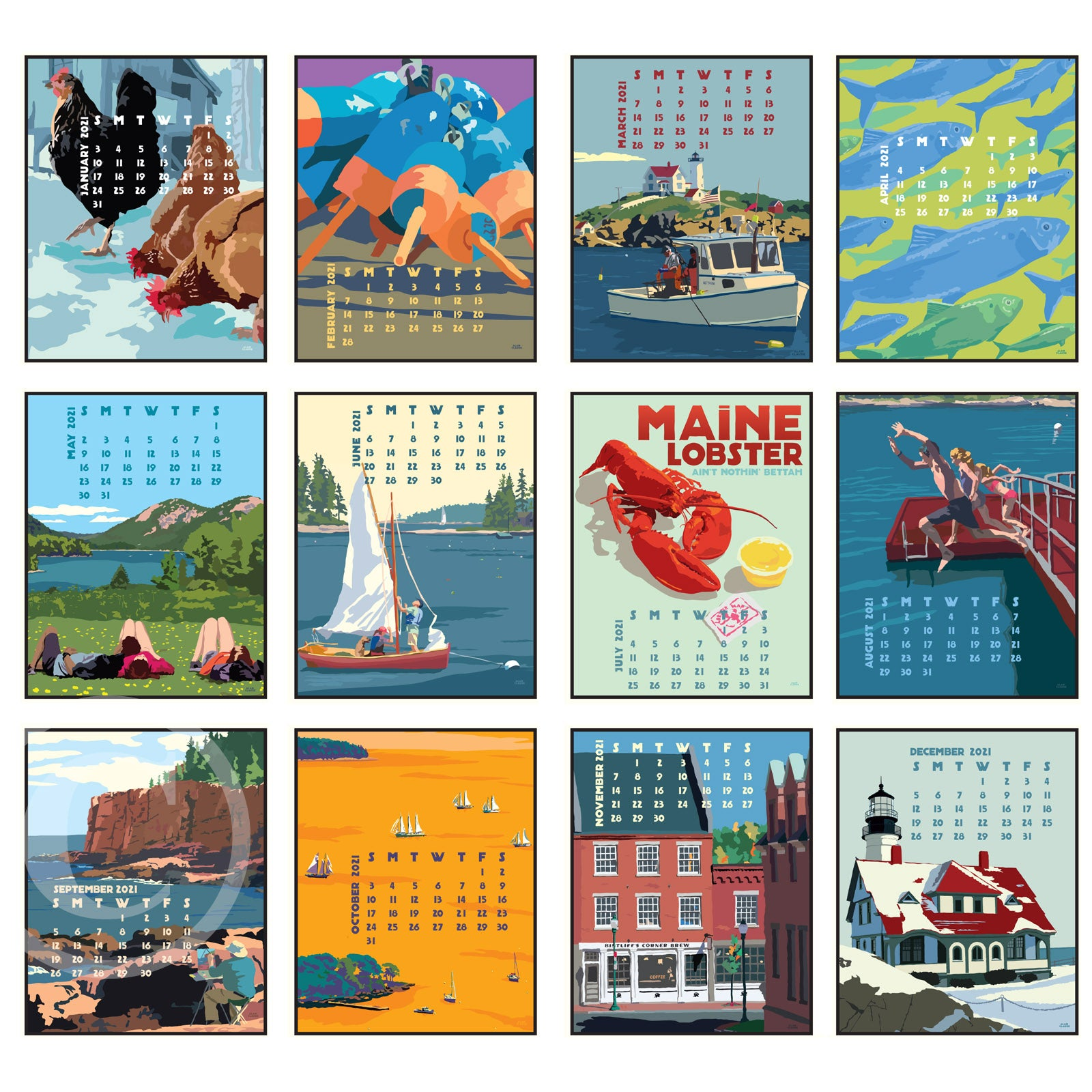 2021 POSTER Art Calendar 5x7 poster style of Maine and New England