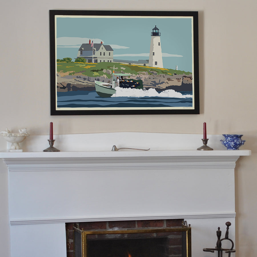"Wood Island Light Art Print 24"" x 36"" Framed Wall Poster - Maine by Alan Claude"