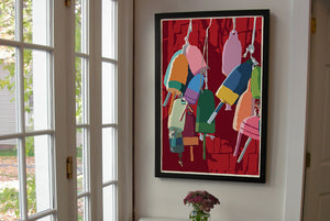 "Lobster Buoys Art Print 24"" x 36"" Framed Wall Poster - Maine by Alan Claude"