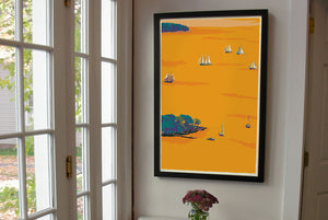 "Sunset Schooners in Camden Harbor Art Print 24"" x 36"" Framed Wall Poster By Alan Claude"