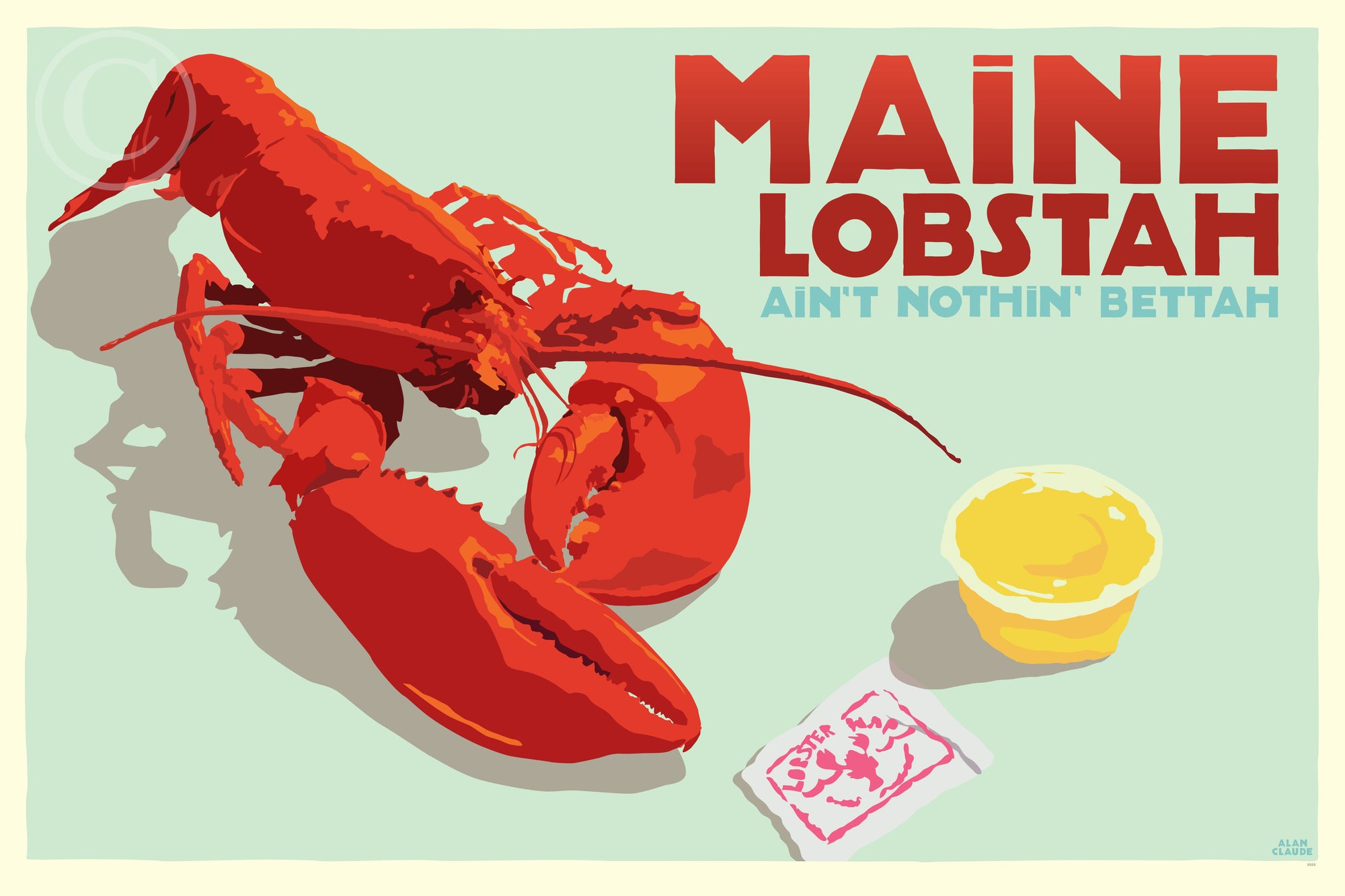"Maine Lobstah With Butter Art Print (Horizontal) 36"" x 53"" Wall Poster By Alan Claude"