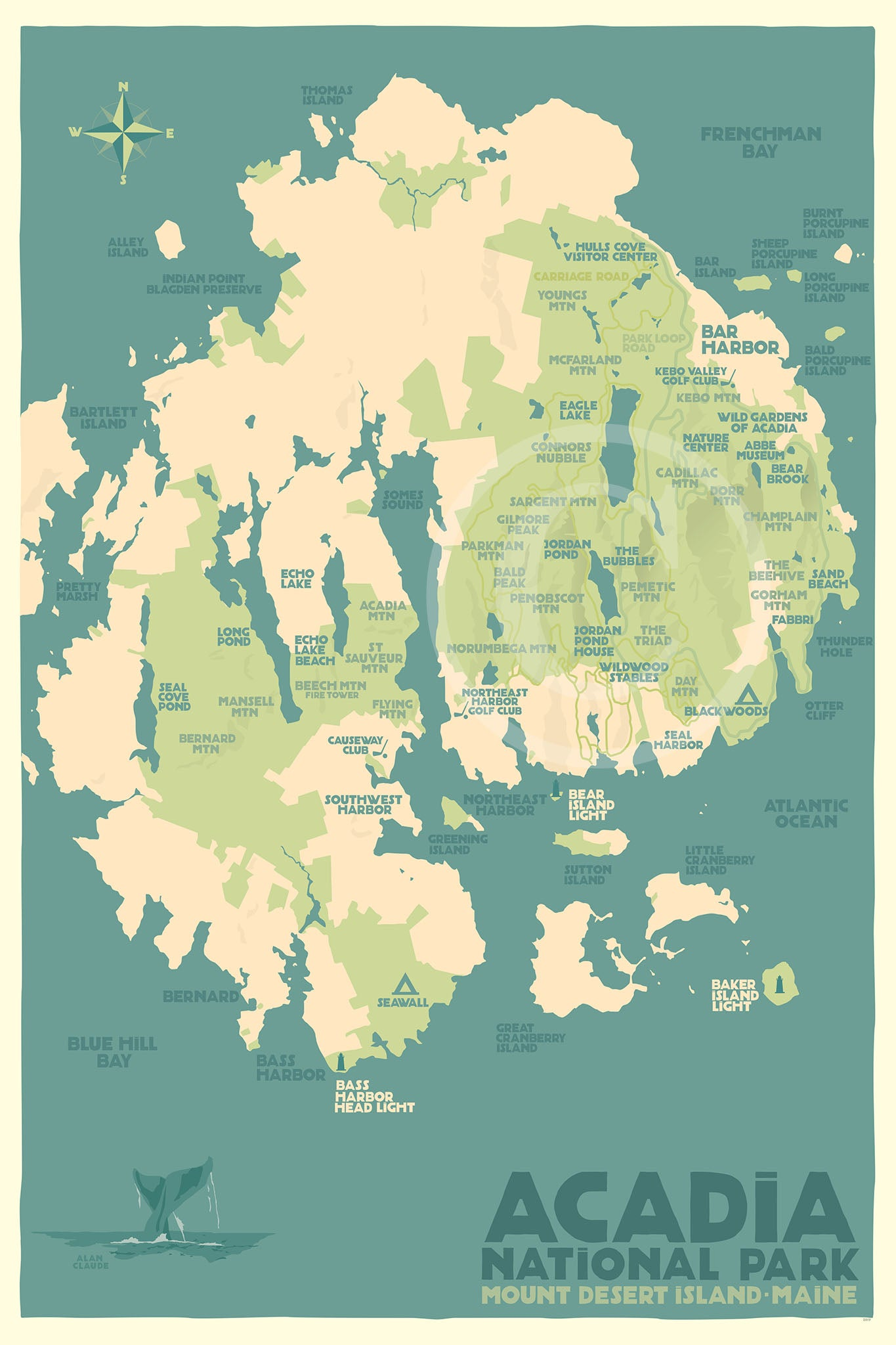 "Acadia National Park Map Art Print 24"" x 36"" Travel Poster - Maine"