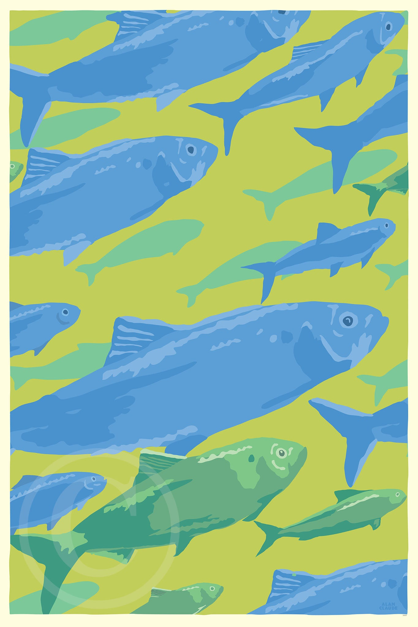 "Alewives On The Move Art Print 24"" x 36"" Wall Poster By Alan Claude"