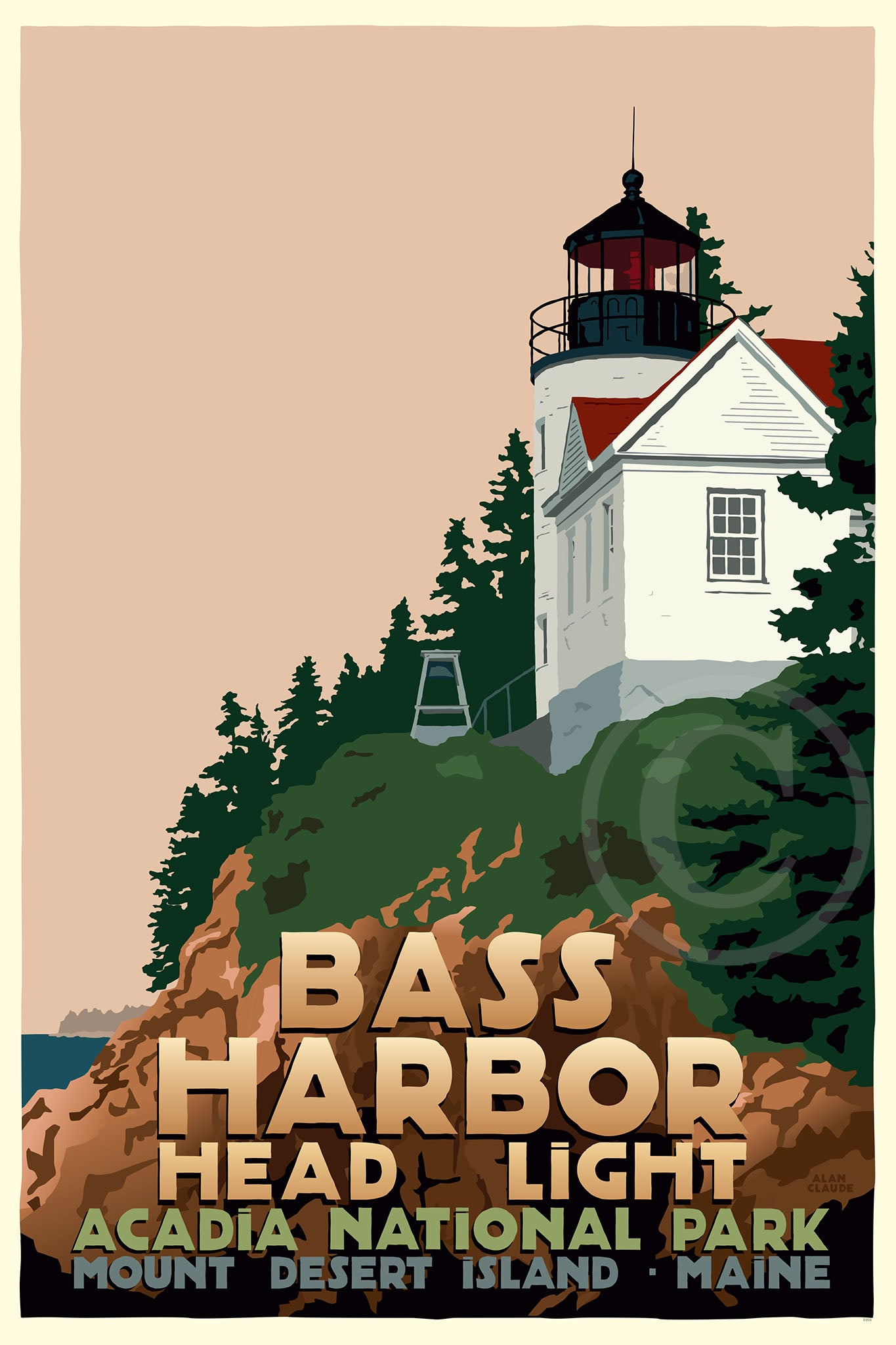 "Bass Harbor Head Light Art Print 24"" x 36"" Travel Poster - Maine"