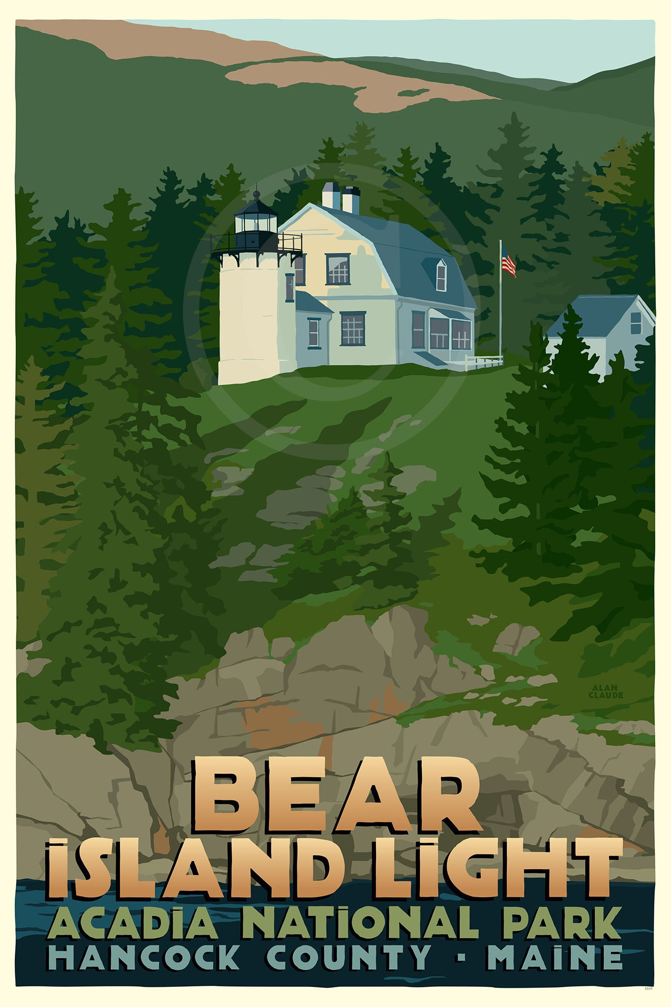 "Bear Island Light Art Print 24"" x 36"" Travel Poster - Maine"