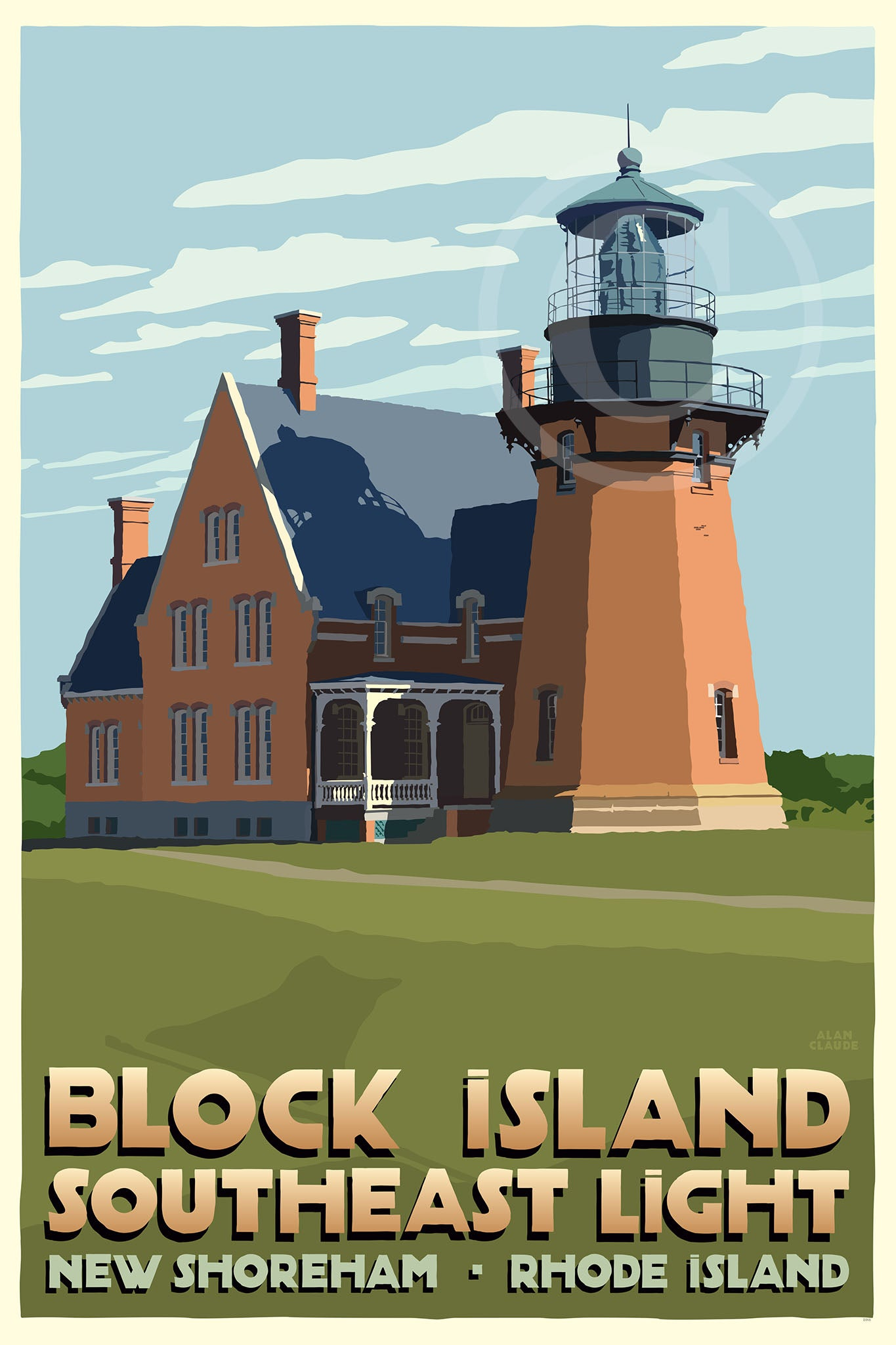 "Block Island Southeast Light Art Print 24"" x 36"" Travel Poster - Rhode Island"