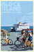 "Block Island Bicycle Girls Art Print 24"" x 36"" Travel Poster - Rhode Island"