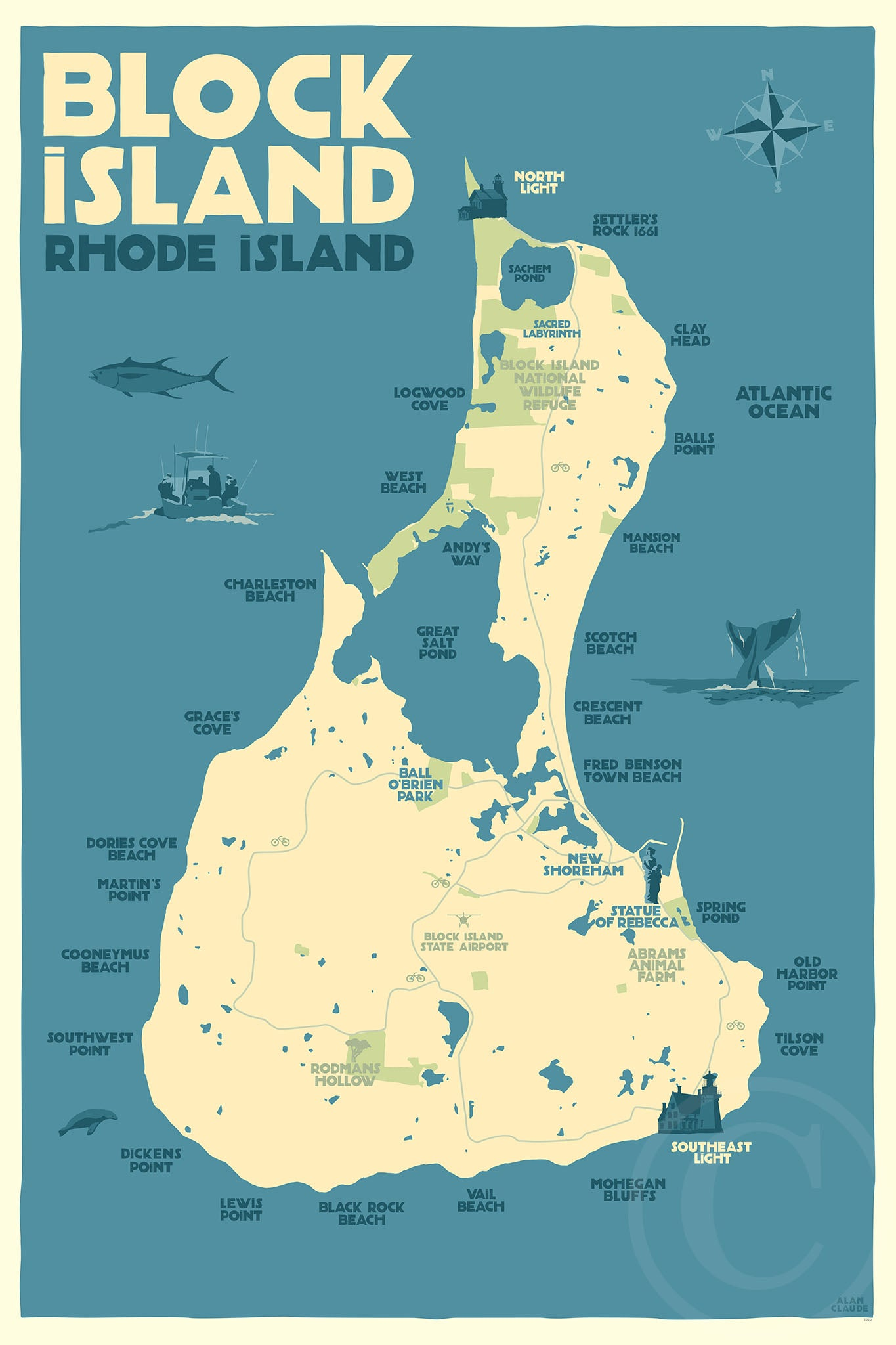 "Block Island Map Art Print 24"" x 36"" Travel Poster - Rhode Island"