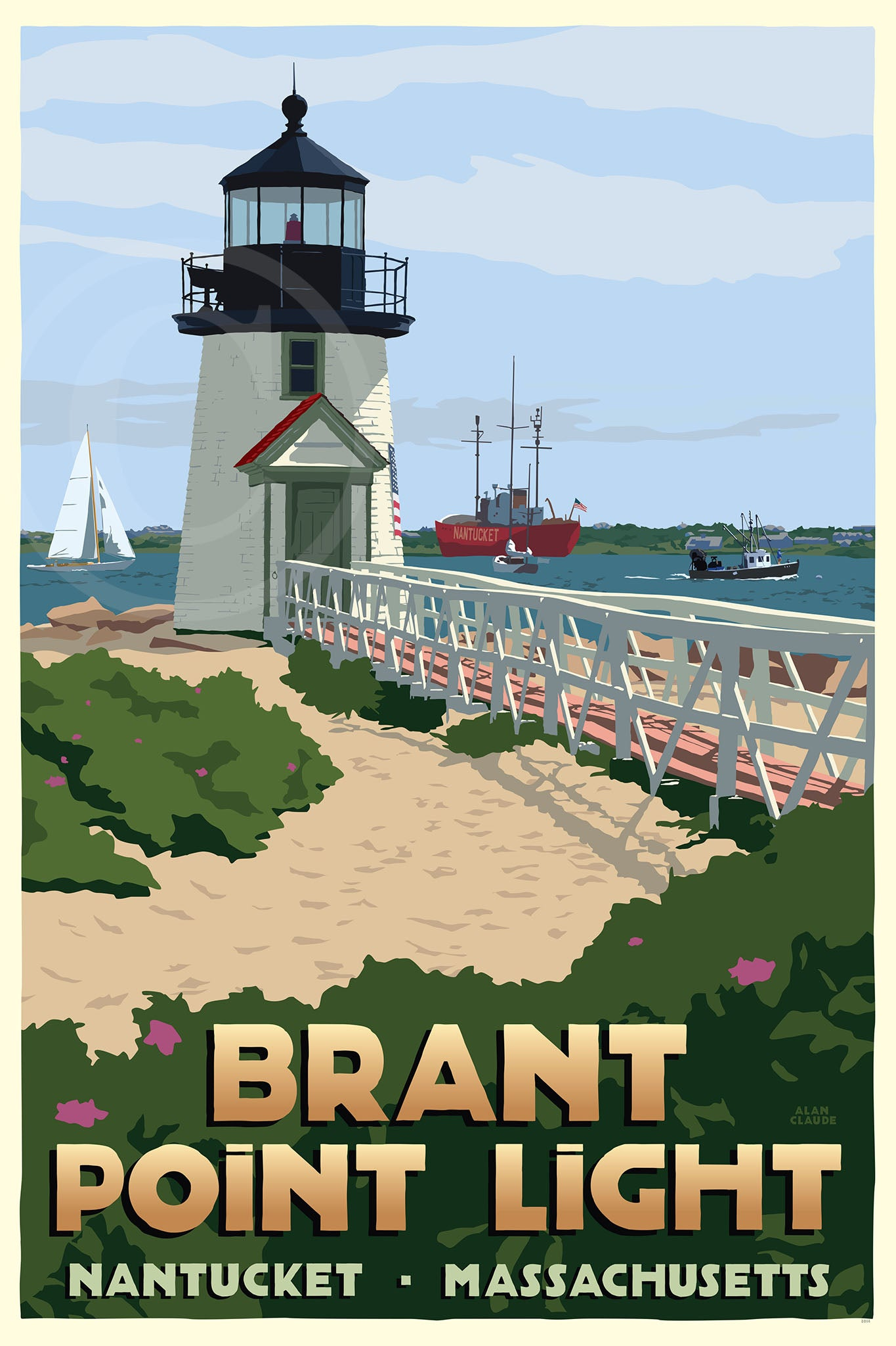 "Brant Point Light Art Print 24"" x 36"" Travel Poster - Massachusetts"