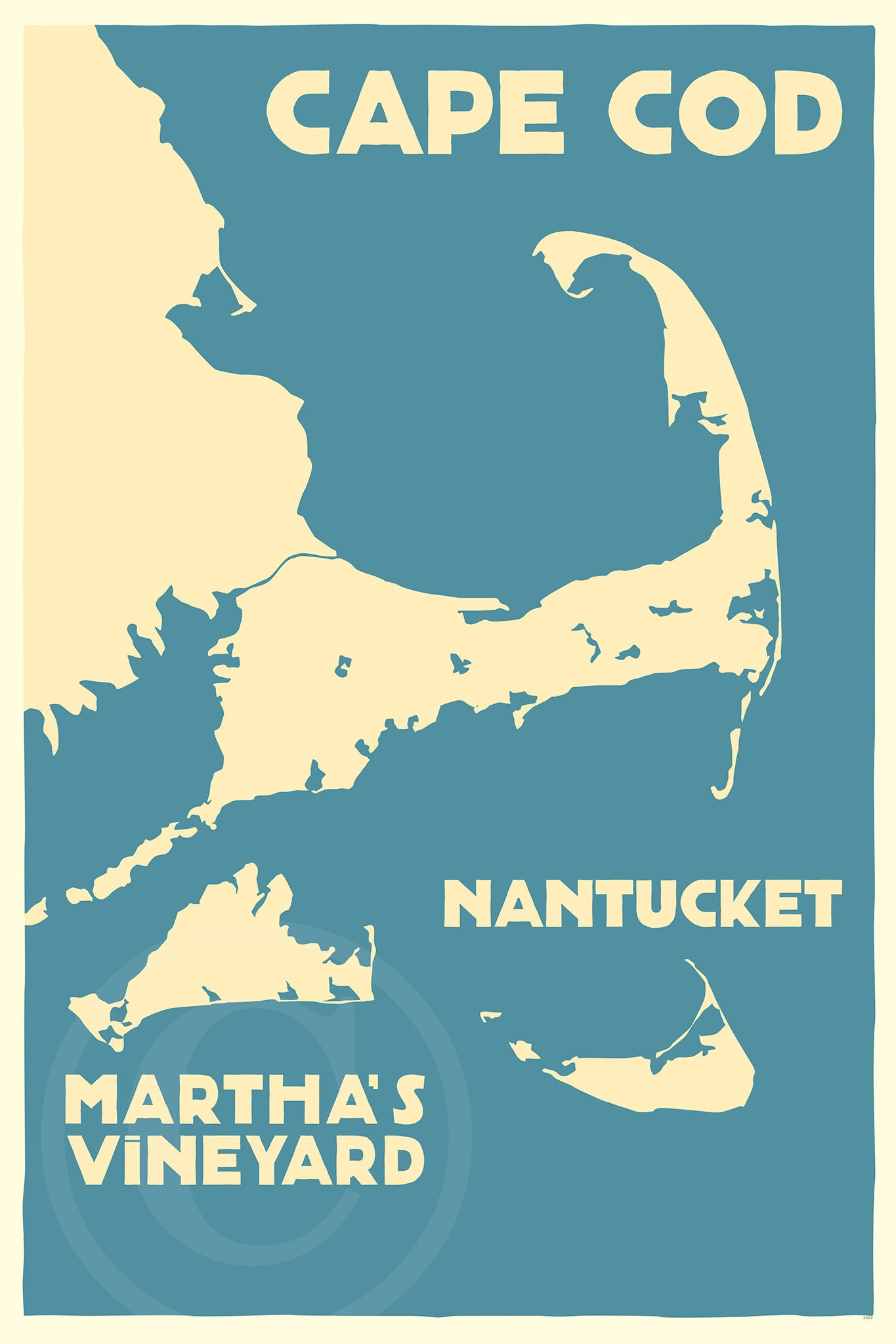 "Cape Cod, Martha's Vineyard, Nantucket Map Art Print 24"" x 36"" Travel Poster - Massachusetts"