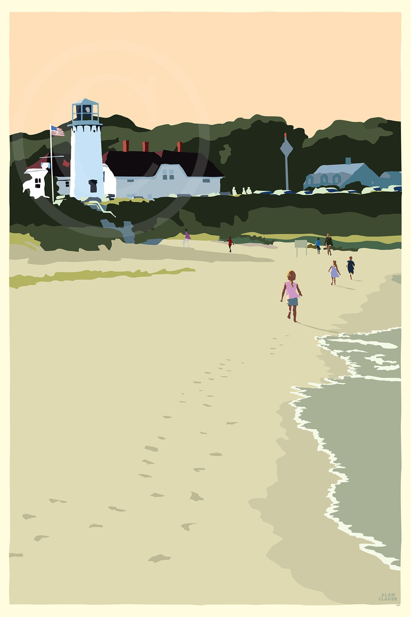 "Chatham Lighthouse Kids Art Print 24"" x 36"" Wall Poster - Massachusetts"