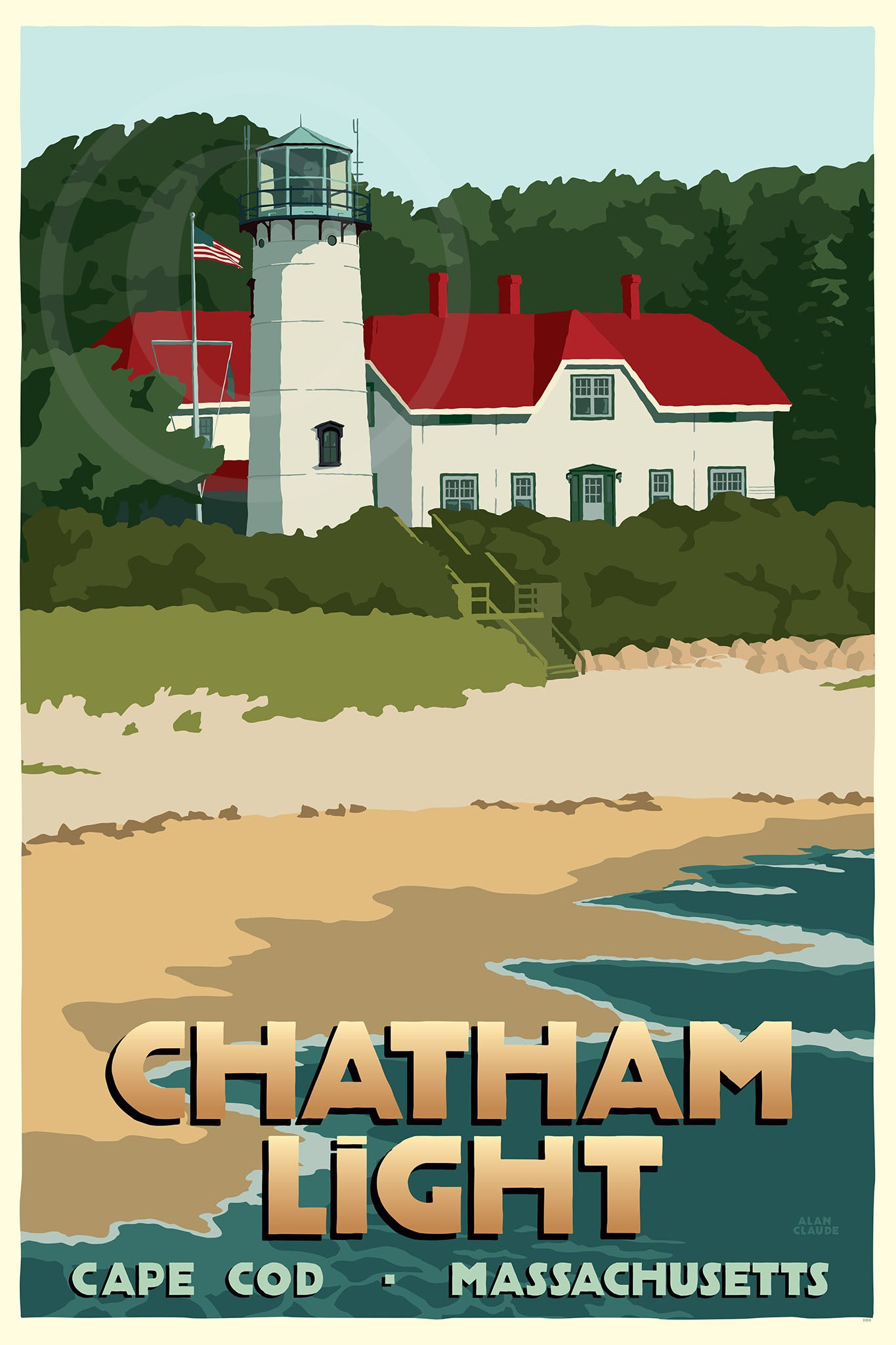"Chatham Light Art Print 24"" x 36"" Travel Poster - Massachusetts"