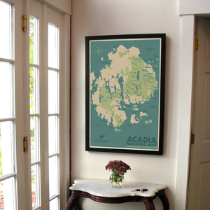 "Acadia National Park Map Art Print 24"" x 36"" Framed Travel Poster - Maine"