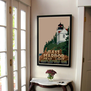 "Bass Harbor Head Light Art Print 24"" x 36"" Framed Travel Poster - Maine"