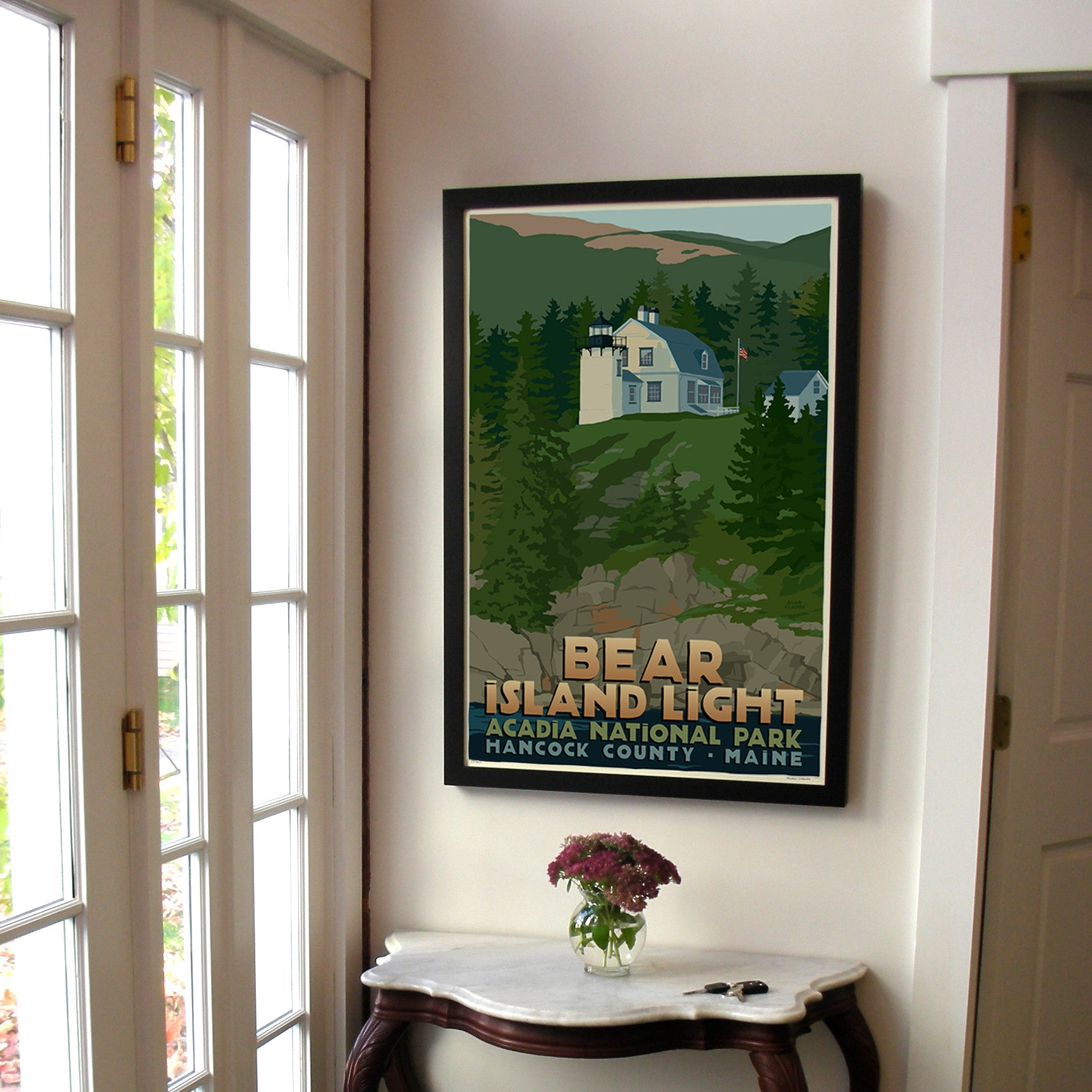 "Bear Island Light Art Print 24"" x 36"" Framed Travel Poster - Maine"