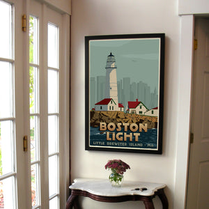 "Boston Light Art Print 24"" x 36"" Framed Travel Poster - Massachusetts"