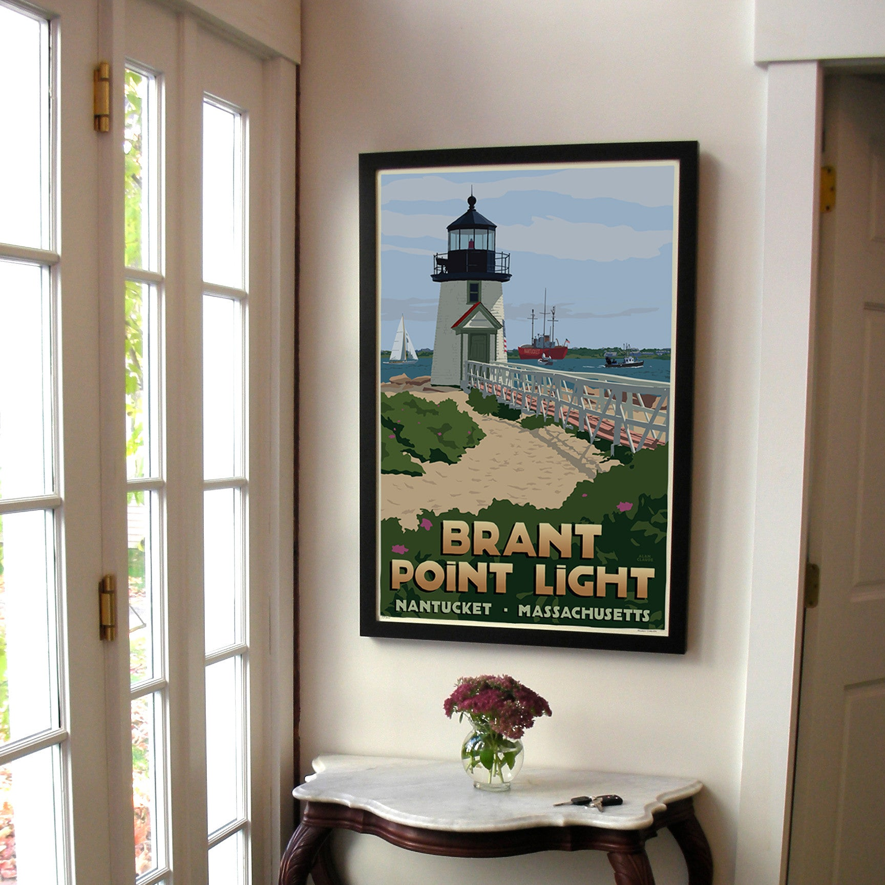 "Brant Point Light Art Print 24"" x 36"" Framed Travel Poster - Massachusetts"