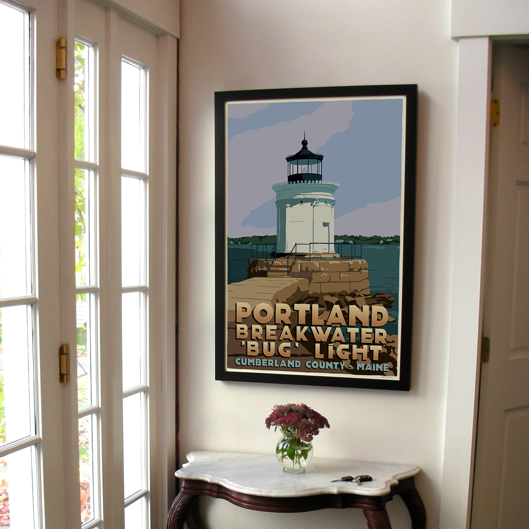 "Portland Breakwater Bug Light Art Print 24"" x 36"" Framed Travel Poster - Maine"