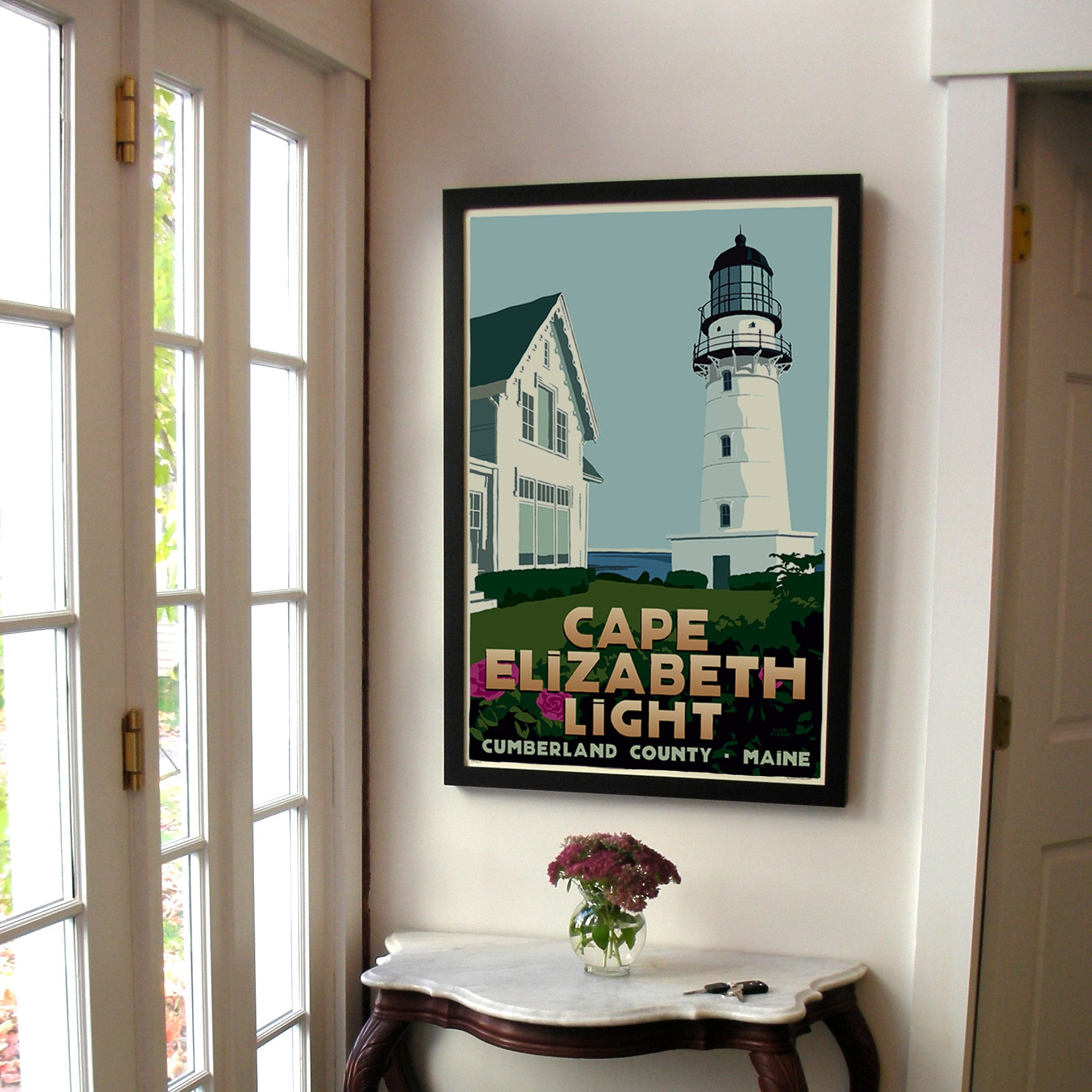 "Cape Elizabeth Light Art Print 24"" x 36"" Framed Travel Poster - Maine"