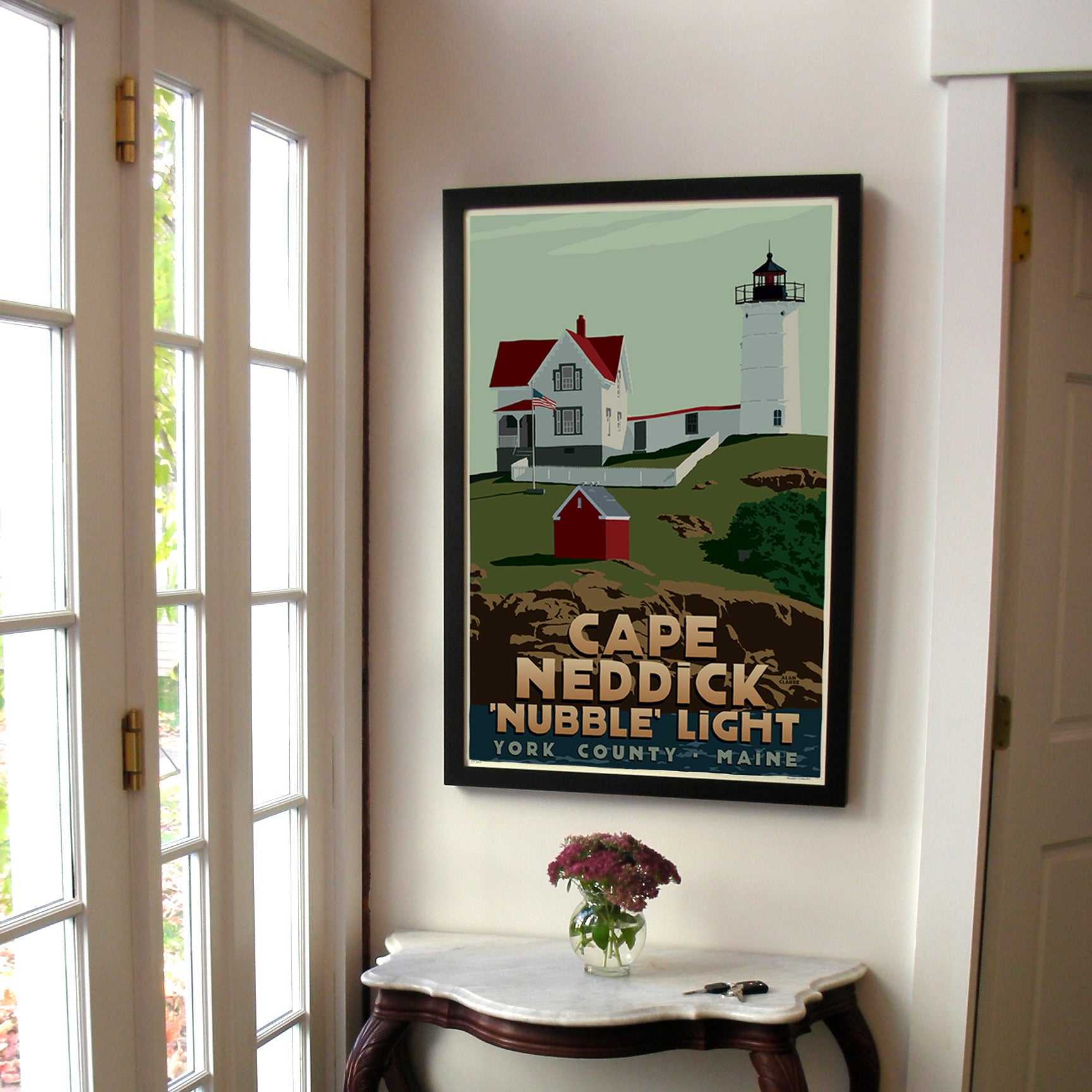 "Cape Neddick Nubble Light Art Print 24"" x 36"" Framed Travel Poster - Maine"